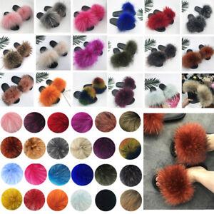 Women's Luxury Real Fox Fur Slides Fuzzy Furry Slippers Comfort Sliders Shoes UK