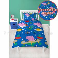 PEPPA PIG GEORGE PLANETS SINGLE DUVET COVER SET BOYS BLUE - 2 IN 1 DESIGN