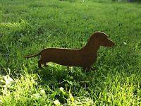 EDELROST Dackel Hund Tier Skulptur Rost Gartendeko EDEL KUNST DEKORATION Metall