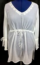 White Sheer Top Swimwear Bathing Suit Cover Up 1X Drawstring Waist Women's New