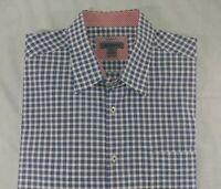 Johnston & Murphy Tailored Fit Blue Check Pattern Shirt Size 2XL 2XLarge (A9)