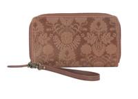 New Women's The Sak Silverlake Floral Embossed Tan Leather Phone Wallet Wristlet