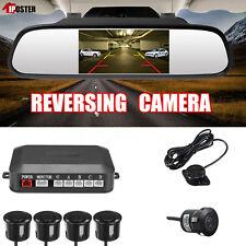 "Car 4.3"" Rearview Mirror Monitor+Reversing Camera+4x Radar Parking Sensor+Beeper"