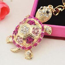 Charm Handbag Purse Tortoise Pendant Keyring Key Chain Rhinestone