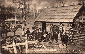 Postcard Cowboys at Home Log Cabin Music Horses~138382