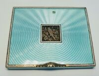 1920's Vintage Green Silver and Enamel Compact with Bird Centerpiece