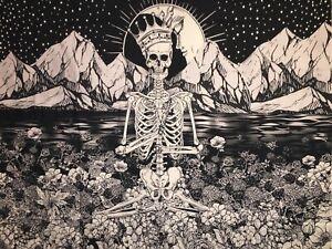 "NEW 60""x52"" Mystical Meditation Royal Skeleton Black Tapestry Wall Decor w/Clips"