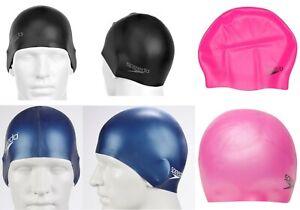 Retail Packed Speedo Silcone Swimming Cap NEW Adult Swim Hat Black Blue Pink
