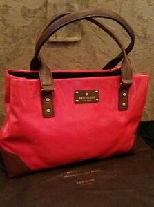 100% KATE SPADE New York WKRU 1784 Elena Barclay Red Leather Tote/ Shoulder Bag