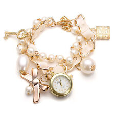 Fashion Women Lock Key Bowknot Pearl Golden Bracelet Quartz Watch