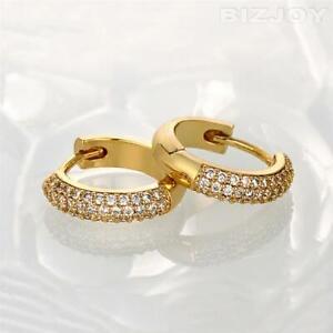 Women's 18K Gold Plated Small Huggie Hoop Cubic Zirconia Sleeper Earrings