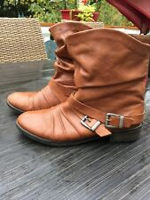 REMONTE DORNDORF ANKLE BOOTS ZIPPER BROWN SIZE 8 LEATHER 862550947 EUC MSRP $180