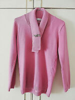 IMPRESSIONS WOMENS PINK SOFT JUMPER WITH BROOCH SIZE 10 PIT TO PIT 17 V NECK