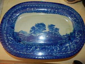 Antique Flow Blue Chusan  Ironstone heavy dish Rare