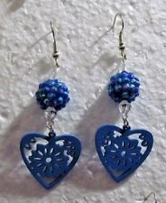 Blue Cutout Heart w Disco Ball Drop Hook Earrings