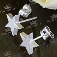 Men Women Silvery Stainless Steel Star Carved Ear Stud Earrings Piercing Jewelry