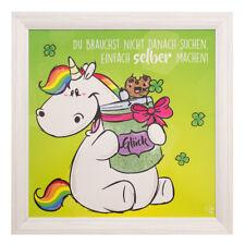 Wandbild Einhorn Pummeleinhorn Glitzer Glück Unicorn Holzrahmen Bild 50x50cm