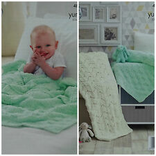 KNITTING PATTERN Baby Easy Knit Textured or Lace Blanket Yummy King Cole 4822