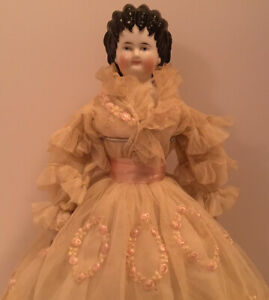 ANTIQUE CHINA HEAD PARIAN? DOLL ELABORATE BLACK CURLY HAIR INCREDIBLE OUTFIT 15""
