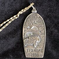 1995 Vermont ABC 35th Anniversary Medal & Necklace Automobile Car Racing