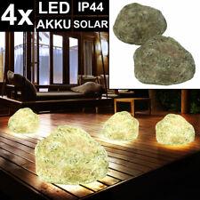 4x LED Solar Stein Leuchte AKKU Erdspieß Steck Garten Grundstück Lampen grau