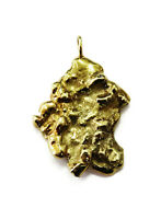 14K Yellow Gold Nugget Charm Necklace Pendant ~9.9g