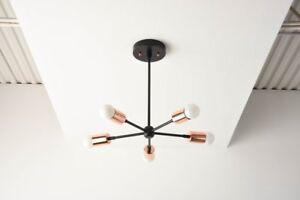 Sputnik Chandelier Black Copper Black & Copper Mid Century Modern Chandelier