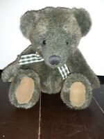 "Russ 6"" Sage Green & Brown Bear With Gingham Ribbon ""Winslow"" ~ EUC"