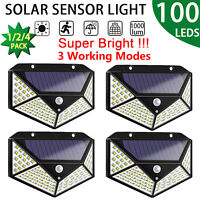 100 LED Solar Luz de Pared Impermeable Sensor de Movimiento PIR Lámpara Exterior