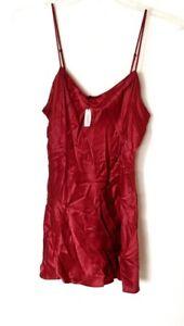 Vintage Victoria's Secret Large Red 100% Silk Slip Nwt