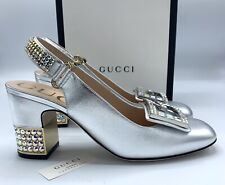 Gucci Madelyn 75MM Leather Mid-heel Slingback Pump With Crystal G Silver 38/US8