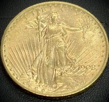 1908-D No Motto St Gaudens $20 Twenty Dollar Double Eagle Gold Coin UNC