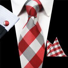 100% Soie New Red Tartan Gris Bal Hommes Cravate Set Mouchoir Boutons De Manchette Hommes Cravate Set