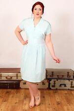80s does 50s Vintage Mint green & white stripe summer dress day dress size 16