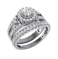 Halo Engagement Bridal Ring Set SI1 G 1.10 Ct Round Diamond 14K White Gold