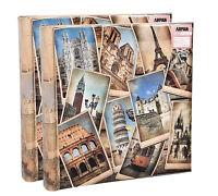 2 x Arpan Vintage EuropeanTravel Memo Photo Album for 200 Photos 4' x 6'- FB200