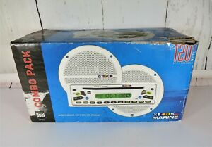NIB DUAL CP45M MARINE AM/FM/CD RADIO RECEIVER W/ 120 WATTS SPEAKERS COMBO PK