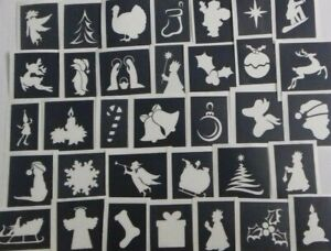 Christmas stencils (mixed) for etching on glass  gift present hobby craft