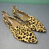 Steve Madden Featherl Leopard Print Cow Hair Point Toe Slip On Women Flats Sz 7M