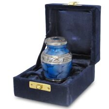 Forever Remembered Blue Small Mini Cremation Keepsake Urn For Human Ashes - Qnty