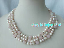 Jade 8mm Rose Quarz Necklace 17-20 3 Strands 7-8mm White Freshwater Pearl Round