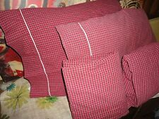 "NAUTICA RED TATTERSAL PLAID CHECK (4PC) FULL SHEET SET COTTON BOYS 13"" POCKETS"