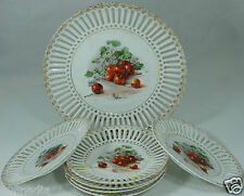 VINTAGE PORCELAIN DESSERT SET 7PC CAKE & SMALL PLATES,PIERCED,CHERRY/BERRY