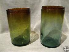 2 farbige Trinkgläser Gläser mundgeblasen außergewöhnlich Grün/Bernstein