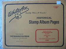 "1992 WHITE ACE STAMP ALBUM SUPPLEMENT "" TB "" USA COMMEMORATIVE BLOCKS"