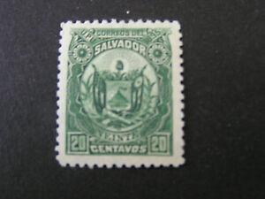 *EL SALVADOR, SCOTT # 124, 20c. VALUE DEEP GREEN.1895 COAT OF ARMS ISSUE MH