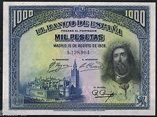 1000 PESETAS 1928 SAN FERNANDO  SC-  SPAIN Pick 78 aUNC