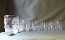 8 Stuart Crystal Tamara Cut Whisky Glasses , Barrel Shape, Signed, h9,8cm, VGC