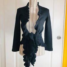 Armani Collezioni Black Knit Shawl Collar Wrap Around Cardigan Sweater, Sz Small