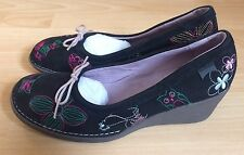 CAMPER Twins Black Wedge Leather Shoes RRP £155 UK 6/39 New